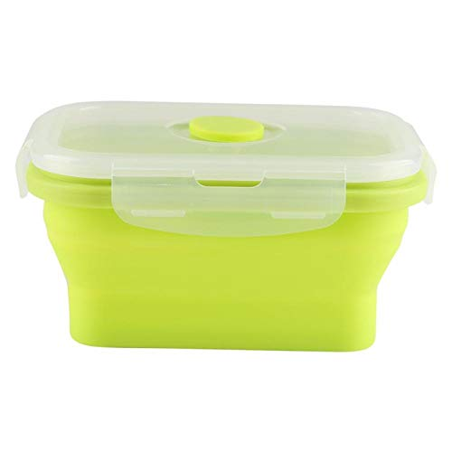 Recipiente de alimentos para microondas Rectángulo de silicona Caja Bento Recipiente para alimentos, Fiambrera Bento, para picnics Recipiente para almacenamiento de alimentos(green)