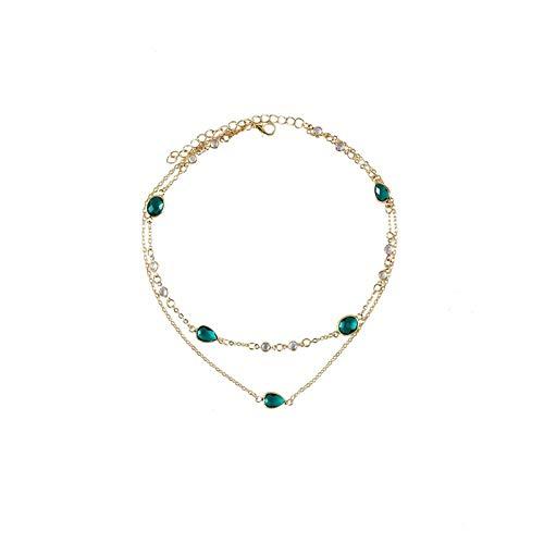 Gotas de Agua del Oro Verde de la Moda Colgante de Piedra Collares for Las Mujeres Collar de Varios Niveles Mujer Boho Regalo de la joyería de la Vendimia Gifts (Metal Color : A)