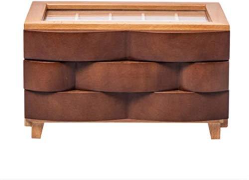Caja de joyería de madera creativo europeo - collar de estilo joyería caja de almacenamiento cosméticos, marrón
