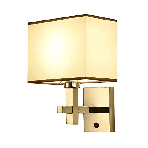 MAGFYLYDL Moderne roestvrij stalen plug-in wandlamp wandlamp, decoratieve wandlampen, stoffen kap, wandhouder licht voor slaapkamer gang trap hal restaurant, E27