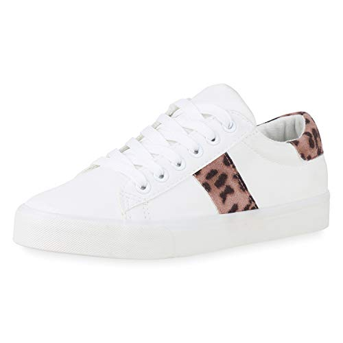 SCARPE VITA Damen Sneaker Low Bequeme Leder-Optik Schuhe Schnürer Turnschuhe Animal Prints Freizeit Schnürschuhe 181990 Weiss Hellbraun Leo 37