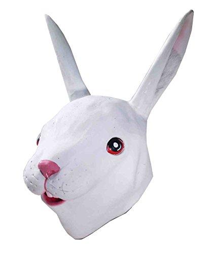 Forum Novelties Men's Deluxe Latex Rabbit Mask, White, One Size