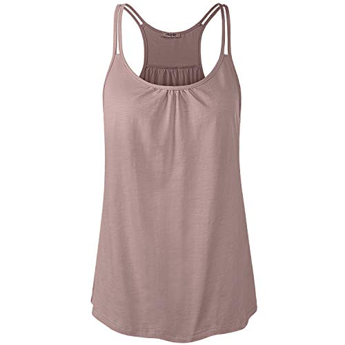 Hibelle Yoga Tank, Juniors Sleeveless Zumba Tunic Shirts for Leggings Cool Mesh Workout Active Wear Racerback Sports Athletic Clothing Pale Pink Small