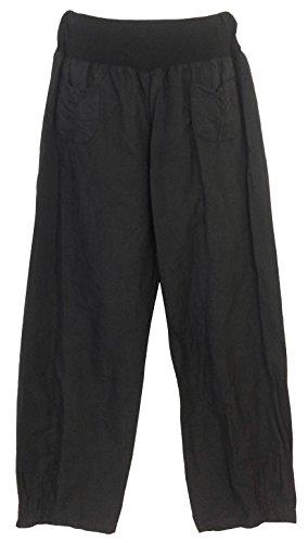 Pantalon en lin femme, 2 poches appliquées, Fabriqué en Italie
