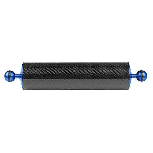 QiKun-Home Flotador de Fibra de Carbono de 60 mm, Brazo acuático de flotabilidad, Soporte Flotante de Doble Bola para cámara de Buceo, Bandeja subacuática Azul de 12 Pulgadas