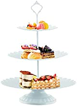 LIFESTIVAL Cupcake Stand White Metal 3-Tier Cake Holder Party Round Dessert Display Plate Decor Serving Platter for Party Wedding Birthday Baby Shower Celebration Home Decoration