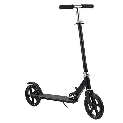 HOKIT Patinete Plegable para Adultos y Niños más de 14 años Scooter con Manillar Altura Ajustable Tipo Monopatín con Freno Grandes Ruedas Carga 100kg,Negro