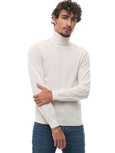BOSS Suéter de cuello alto Musso-P para hombre en lana virgen, blanco, XL
