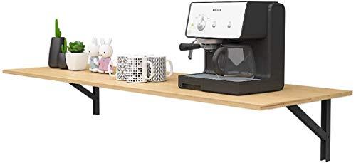 DlandHome Wandklapptisch 120 x 50CM Klapptisch Küchentisch Laptoptisch Perfekte Ergänzung zu Garage & Schuppen/Büro/Waschküche/Hausbar/Küche & Esszimmer, Teak & Schwarz