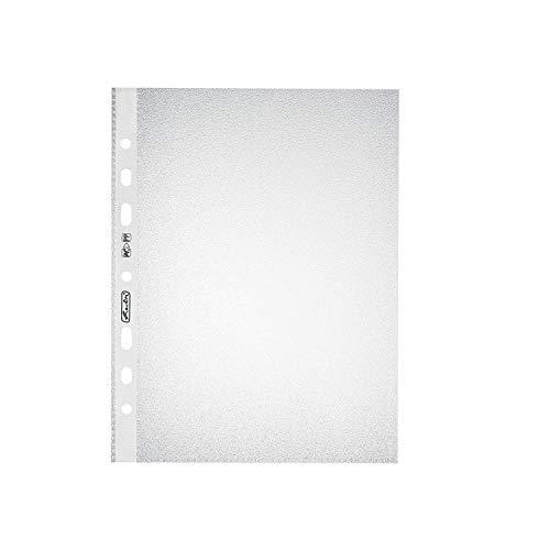 Herlitz 10468585 Prospekthülle A5 Standard genarbt, 100er Packung, PP, 0,055 mm, transparent