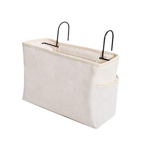 E EBETA Bett Tasche mit Drahthaken Hängetasche Hochbett Aufbewahrungstasche Bett Organizer für Buch, Magazin, Kopfhörer(Weiß)