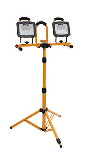 Woods WL40236S Portable LED Dual Head Work Light on Steel Tripod, 3000LM, 72 Watts, 4000 Kelvin, 5 Food Cord, Orange/Black, 6000 Lumens