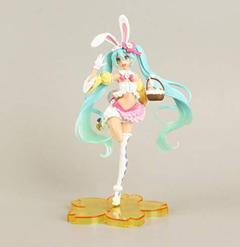 Zqcay Action Figures Spring Clothes Bunny Ears Hatsune Miku Gifts for Boys and Girls Anime Fans Living Room Decorations 22Cm.Best Gift for Kids Teens and Anime-Fans