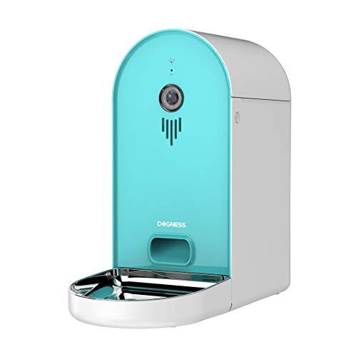 DOGNESS Automatischer Futterautomat mit Kamera und Audioübertragung, Smarter 6L WLAN Futterspender für Trockenfutter, App, Lautsprecher und Mikrofon, Futternapf für Hunde, Katzen und mehr (Blaugrün)