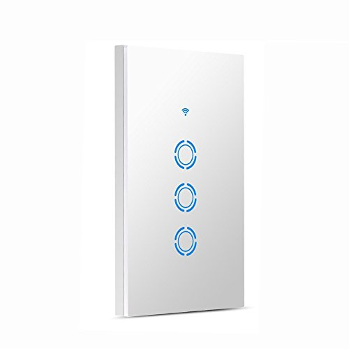 SODIAL Interruttore della luce WIFI Controllo vocale in-wall intelligente Controllo touch e APP Funzione di temporizzazione del telecomando Per Amazon Alexa e Google IOS/Android (3 Gang)