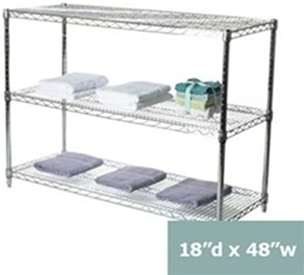 18 D X 48 W Chrome Wire Shelving With 3 Shelves