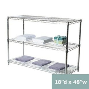 """18"""" d x 48"""" w Chrome Wire Shelving with 3 Shelves"""