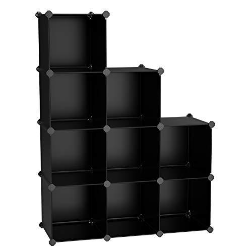 TomCare Cube Storage 6-Cube Metal Wire Cube Storage Storage Cubes Shelves Cube Closet Organizer DIY Storage Grids Stackable Storage Bins Wire Cubes Bookshelf Bookcase Modular for Home Office, Black