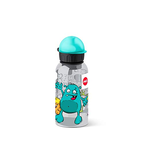 Emsa 518123 - Botella hermética con diseño de Monstruo, Capacidad de 0.4 l, antiderrame con Piezas fáciles de Limpiar, Ligeras y fáciles de manipular para niños