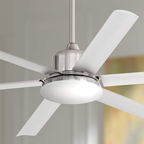 60' Casa Arcade Modern Outdoor Ceiling Fan with Light LED Remote Dimmable Brushed Nickel...