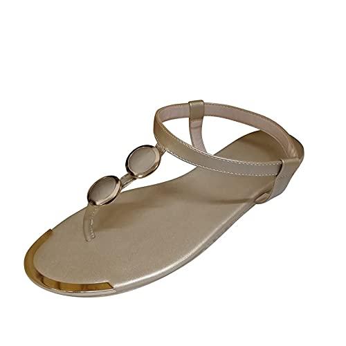 RTPR Sandalias de mujer con correa para mujer, sandalias de mujer a la moda, con puntera abierta, sandalias romanas, sandalias de verano con plantilla suave, dorado, 40 EU