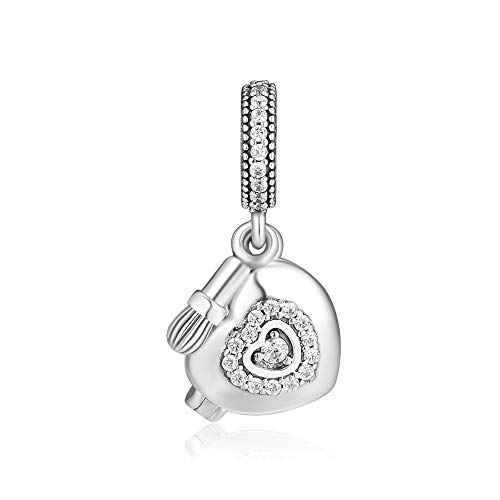 CKK Jewelry Fit for Pandora Bracelets Necklaces 100% 925 Sterling Silver My Beaut Powder Box Charm Bead 3.74g.