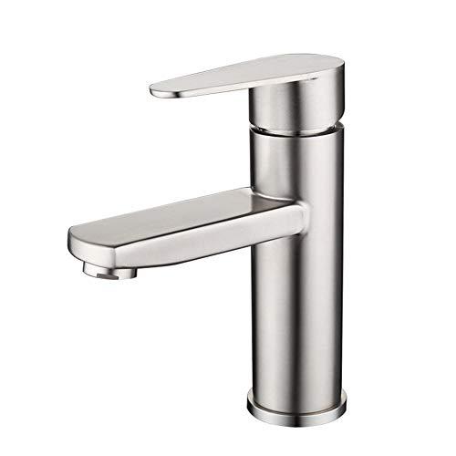 grifos de baño, grifo de lavabo de acero inoxidable 304, grifo de lavabo de agua fría y caliente cepillada sin plomo