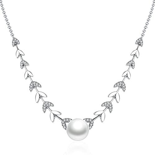 Canrtora Collar de perlas con colgante de perlas blancas para mujer con perlas de agua dulce regalo para niña y mujer