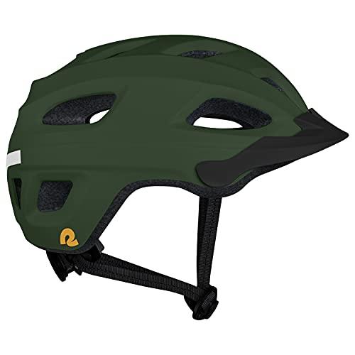 Retrospec Lennon Bike Helmet with LED Safety Light Adjustable Dial & Removable Visor - Adjustable Bicycle Helmet for Adult Men & Women - Matte Forest One Size