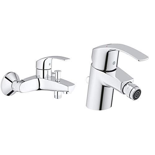 Grohe Eurosmart Grifo para baño y ducha, inversor automático, tecnología SilkMove (Ref. 33300002) + Eurosmart de bidé con vaciador automático, tecnología EcoJoy, tamaño S