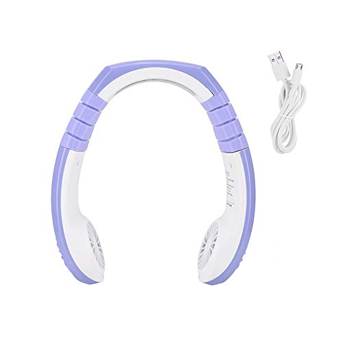 Wearable Neck Fan, Neck-Mounted Fan Portable USB opladen Fan Ventilator van sporten met koptelefoon Vorm, Refrigeration Indoor Outdoor Travel,Purple