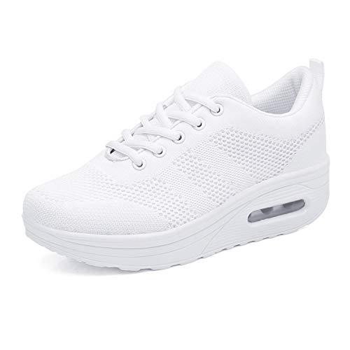 Mujer Zapatos de Plataforma para Caminar Zapatillas de Deporte de Cuña Ortopédicas de Malla con Cojín de Aire Blanco 41 EU