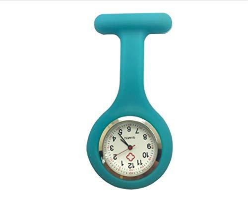 HeNan LiQinKeJi8 Brosche Uhr 1Pcs Mini beweglicher Silikon-Doktor Krankenschwestern Taschen-Taschenuhr mehr Farben Brosche Anhängeuhr Für die Arbeit drinnen (Color : Grass Blue)