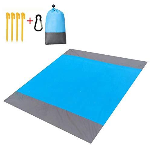 ForYOURS - Manta de picnic impermeable para playa, playa y exterior, ultraligera, con 4 esquinas de fijación, secado rápido, 210 x 200 cm, a