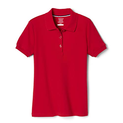 French Toast Girls' Big Short Sleeve Picot Collar Polo Shirt (Standard & Plus), Red, 18-20