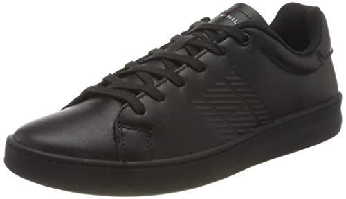 Tommy Hilfiger Retro Tennis Cupsole Leather, Zapatilla de Deporte Hombre, Negro, 42 EU
