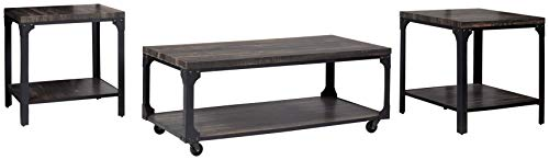 Signature Design by Ashley Jandoree Industrial 3-Piece Table Set, Includes Coffee Table and 2 End Tables, Brown & Black