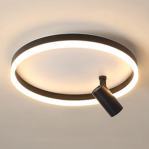 Luces De Techo LED De Atenuación Continua Con Foco, Iluminación Interior Acrílica Moderna Nórdica Lámparas De Techo LED Redondas Para La Sala De Estar Del Dormitorio,Negro,24+5W