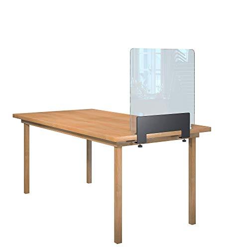 Rulopak Glastrennwand Plexiglas klar mit Tisch Klemme Metall, Trenner, Trennwand, Spuckschutz, Glas (B 60 cm x H 60,8 cm)
