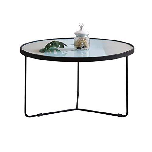 N/Z Living Equipment Table d'appoint Ronde en Verre trempé avec Cadre en métal Noir Petite Table Basse Table de Chevet Salon Balcon Robuste et Stable décoratif (Couleur: Noir Taille: 500 * 550mm)