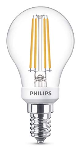 Philips 8718696710081 A+, LED Classic 40W P45 E14 WW Cl D Srt4, Glas, 5 watts, E14, klar, Filament, 4.5 x 4.5 x 8.5 cm