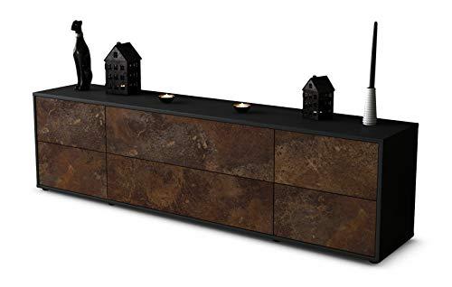 Stil.Zeit TV Schrank Lowboard Assunta, Korpus in Anthrazit Matt/Front im Rost Antik Industrie Design (180x49x35cm), mit Push-to-Open Technik und Hochwertigen Leichtlaufschienen, Made in Germany