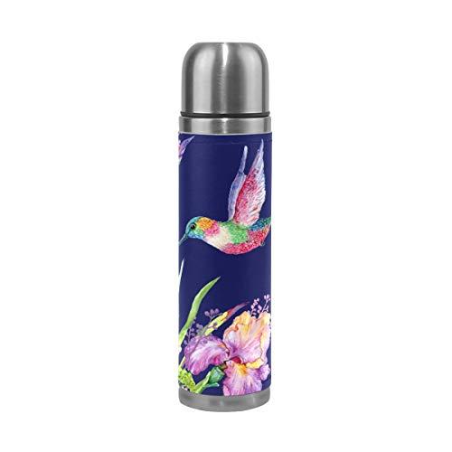 Bunte Vogel-Purpurrote Blume Wasserflasche Thermoskanne Edelstahl Isolierte Isolierflasche Auslaufsicher Leder Verpackung Thermosflasche(500 ML)