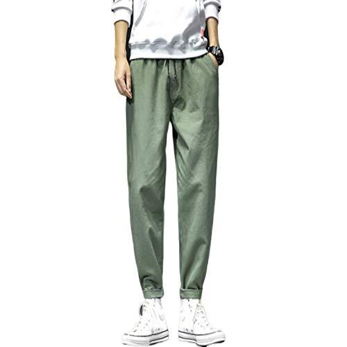 Huntrly Pantalones de chándal Informales para Hombre, Holgados, con Cintura elástica, de algodón, Pantalones de Combate, Pantalones con cordón, Pantalones de chándal 3XL
