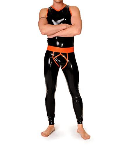 lenceria de cuero sexy mujerTraje de tirantes de látex Traje de chaleco de látex de goma con leggings ajustados para hombres-Marrón_S_Otros