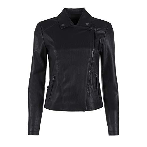 Armani Exchange A|X Damen Asymmetrical Moto Jacket Lederjacke, Schwarz, X-Large