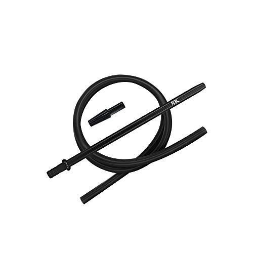 Shisha King® Silikonschlauch Set mit Mundstück & Endstück - für alle Wasserpfeifen - Premium Shisha Zubehör… (Black)