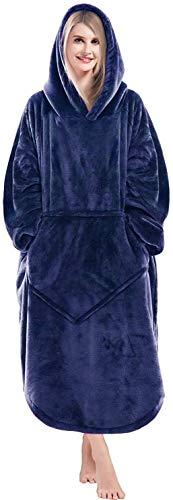 Lushforest Decken-Hoodie, übergroßes Sweatshirt Tragbare Fleece-Decke, Superweiche, warme, Bequeme Decken-Hoodie mit großer Fronttasche Einheitsgröße Für alle Männer Frauen Mädchen, Jungen