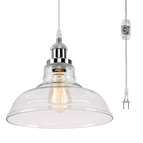 Kingmi Glass Hanging Lights with Plug in Cord and On/Off...