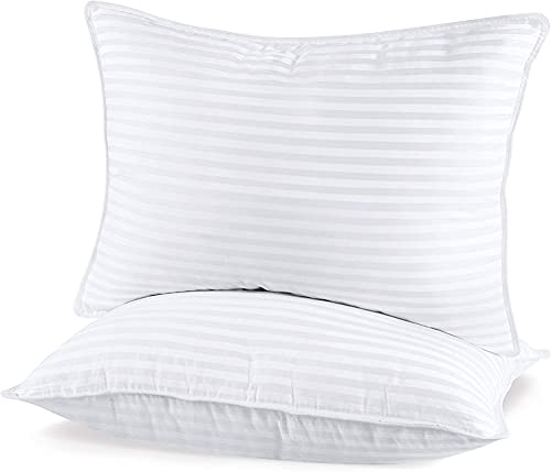 Utopia Bedding (2 Pack) Premium Plush Pillow - Fiber Filled Bed Pillows - Queen Size 20 x 28 Inches - Cotton Blend Pillows for Sleeping - Fluffy and Soft Pillows